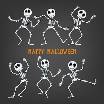 Szkielet halloween z różnymi wyrażeniami.