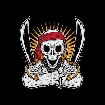 Szkielet pirat trzyma miecze