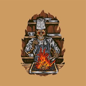 Szkielet szefa kuchni do grillowania mięsa, ręcznie rysowane styl linii z cyfrowym kolorem