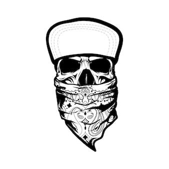 Szkielet ubrany w bandanę i czapkę