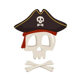 Szkieletowa czaszka i skrzyżowane piszczele w pirackim kapeluszu na halloweenowe wakacje i projekt