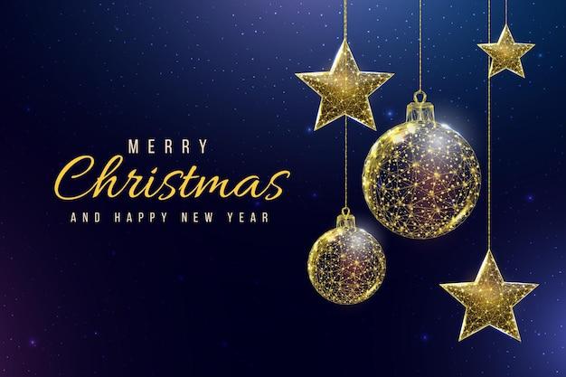 Szkieletowe złote gwiazdy i kulki, styl low poly. baner dla koncepcji bożego narodzenia lub nowego roku z miejscem na napis. streszczenie nowoczesne 3d wektor ilustracja na niebieskim tle.
