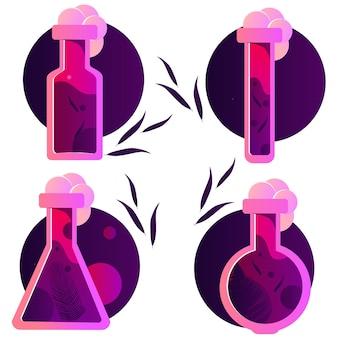 Szklana butelka chemii wypełniona różową miksturą w płynie. eliksir miłości. zestaw ilustracji wektorowych