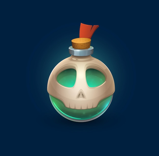 Szklana butelka czarów z czaszką, miksturą trucizny