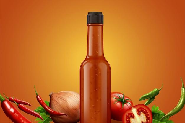 Szklana butelka gorącego sosu ze świeżymi składnikami na ilustracji 3d