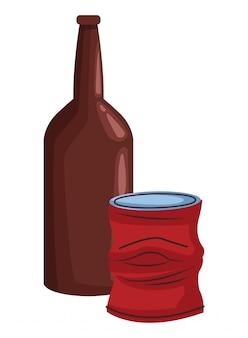Szklana butelka i puszka ikona kreskówka