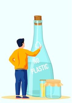 Szklana butelka na wodę z napisem zamykana drewnianym korkiem