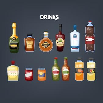 Szklana butelka napoju zestaw. zbiór różnych napojów