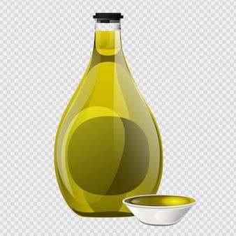 Szklana butelka oliwy z oliwek i miska w stylu cartoon.