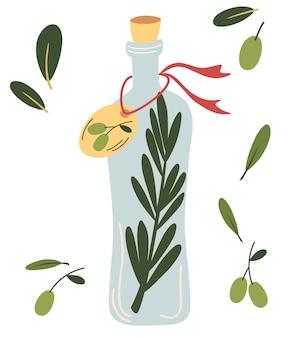 Szklana butelka z oliwą z oliwek. owoc z oliwek, gałęzie drzewa i butelka oliwy z oliwek. dieta wegańska.