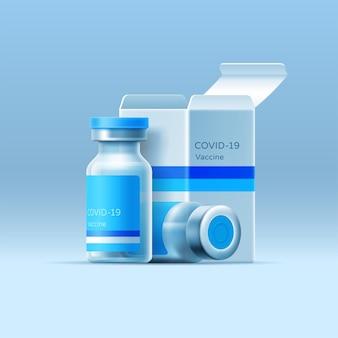 Szklana butelka ze szczepionką wirusową i otwartym opakowaniem na na białym tle