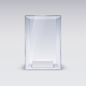 Szklana gablota do prezentacji na białym tle