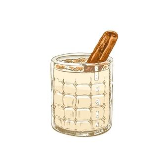 Szklana horchata z cynamonem. wektor wzór kreskowania ilustracja kolor. na białym tle. ręcznie rysowane projekt