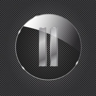 Szklana ikona przycisku na metalowym tle ilustracja wektorowa