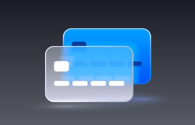 Szklana karta kredytowa przezroczysta ikona kolekcji znak wektor