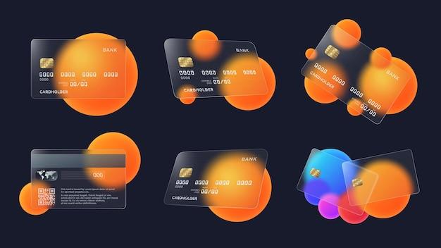 Szklana karta kredytowa z abstrakcyjnymi kółkami i miękkim matowym wzorem