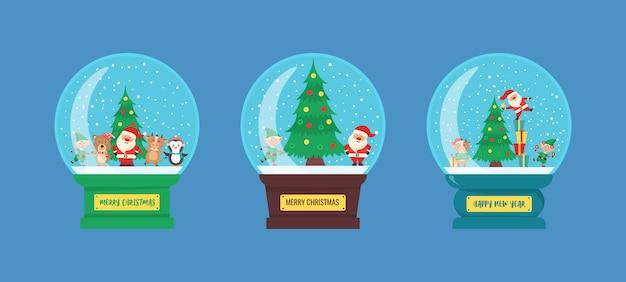 Szklana kula bożonarodzeniowa z pejzażem zimowym i śniegiem w stylu płaski