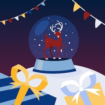 Szklana kula śnieżna ze świątecznym jeleniem w środku. zimowa dekoracja na przyjęcie noworoczne. ilustracja