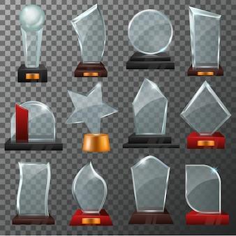Szklana nagroda wektor kryształowe trofeum lub nagradzana nagroda za osiągnięcie ilustracja zestaw zwycięzca błyszczący szablon nagrody lub puste na białym tle