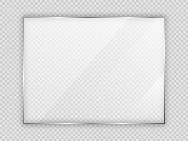 Szklana płyta w ramce prostokąta na przezroczystym tle. ilustracja wektorowa.