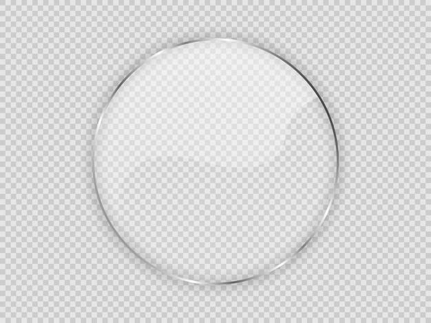Szklana płyta w ramie koło na przezroczystym tle. ilustracja wektorowa.