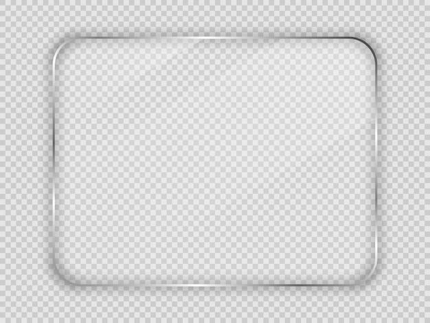 Szklana płyta w zaokrąglonej prostokątnej ramie na przezroczystym tle. ilustracja wektorowa.