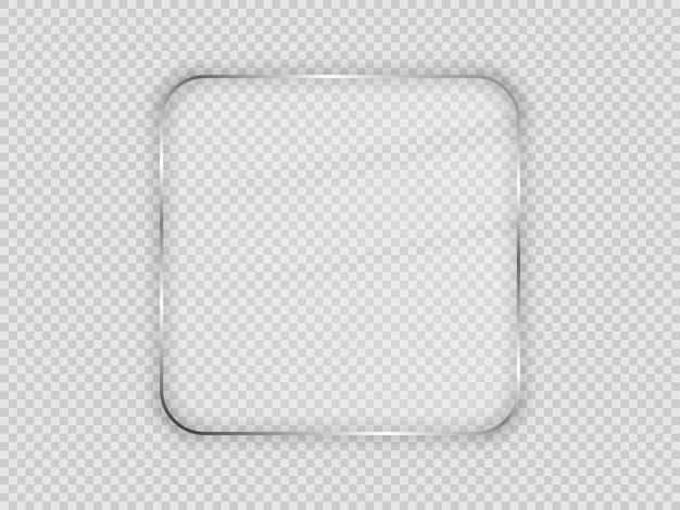 Szklana płyta w zaokrąglonej ramie kwadratowej na przezroczystym tle. ilustracja wektorowa.