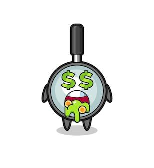 Szklana postać z wyrazem szaleństwa na punkcie pieniędzy, ładny styl na koszulkę, naklejkę, element logo