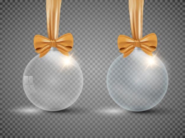 Szklana przejrzysta bożenarodzeniowa piłka z faborkiem odizolowywającym. ilustracja.