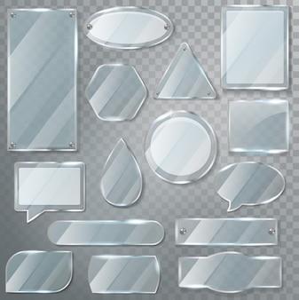 Szklana przezroczysta błyszcząca pusta pusta rama i realistyczny pusty szklisty szablon szklany ilustracyjny zestaw błyszczący mowy bąbelkowej na przezroczystym tle