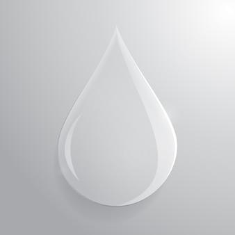 Szklana przezroczysta kropla na szarym tle