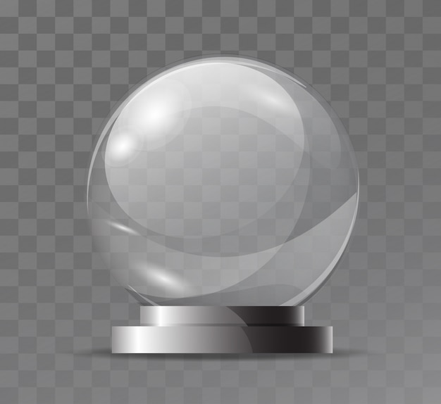 Szklana przezroczysta kryształowa kula ziemska. atrybut magiczny. pusta szklana kula. stojak na pamiątkę, trofeum.