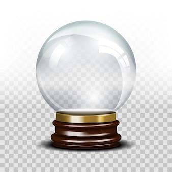 Szklana pusta kula śnieżna. kryształowa błyszcząca kula