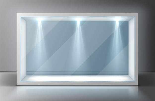 Szklana rama gabloty na pustej wystawie