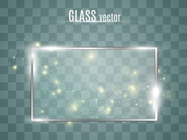 Szklana rama. okno, lustro. przezroczyste okienko z ramką. blask na płaskiej, przeszklonej ramie.