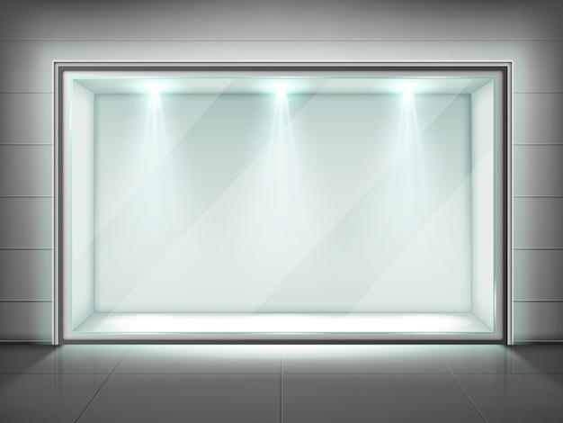 Szklana rama ścienna, przezroczysta witryna ze światłem