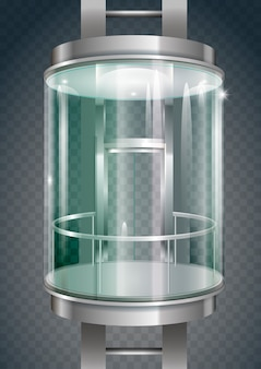 Szklana zewnętrzna winda