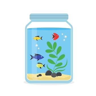 Szklane akwarium z kolorowymi rybkami do wnętrz domu. sprzęt hobby flat style.