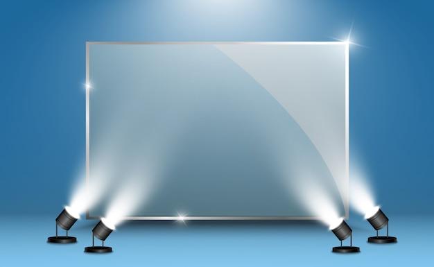 Szklane banery na przezroczystym tle. pusta rama z przezroczystego szkła. czyste tło.