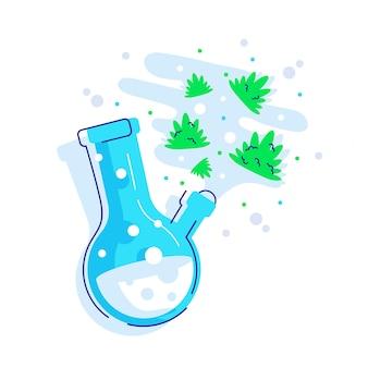 Szklane bongo do palenia. plastikowe niebieskie bongo z zieloną konopią.