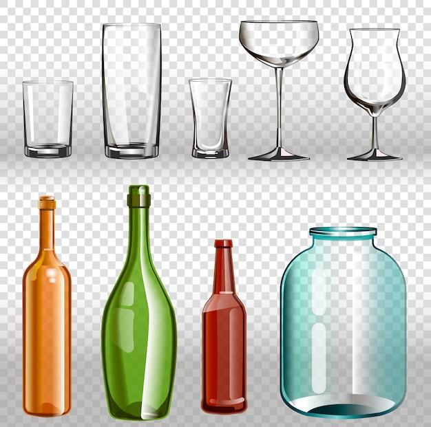 Szklane butelki i realistyczny przezroczysty zestaw 3d.