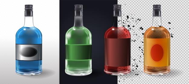 Szklane butelki lub ikony szklane na przezroczystym tle. szklana butelka octu winnego z plastikową pokrywką i pustą etykietą. ilustracja. kolekcja szklanych butelek
