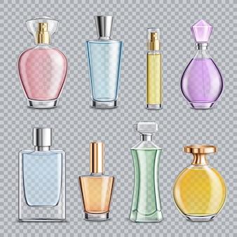 Szklane butelki perfum przezroczyste