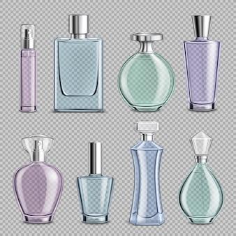 Szklane butelki perfum ustawione na przezroczystym