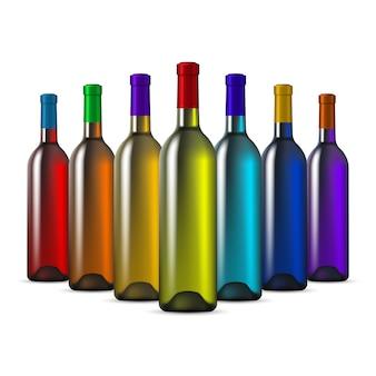 Szklane butelki wina w kolorze tęczy
