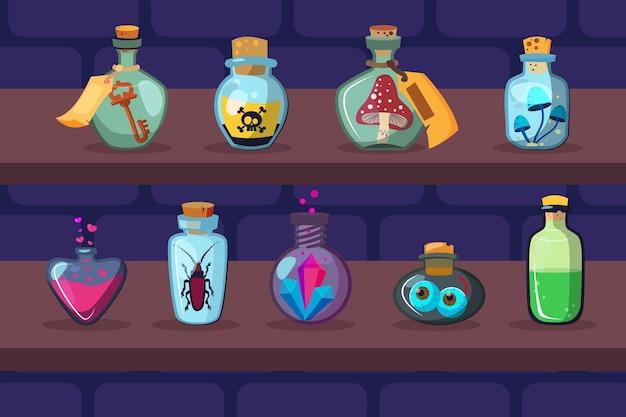 Szklane butelki z magicznymi składnikami na półkach