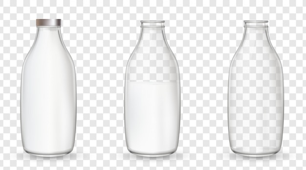 Szklane butelki z mlekiem.