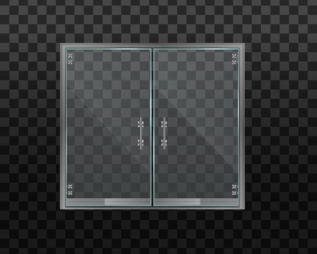 Szklane drzwi do biura lub centrum handlowego na przezroczystym tle.