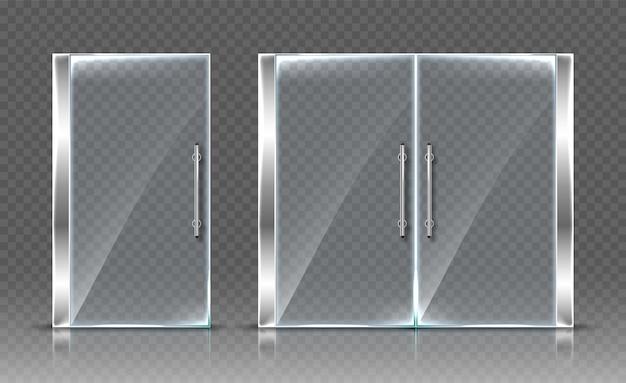 Szklane drzwi na przezroczystym tle. realistyczna ilustracja