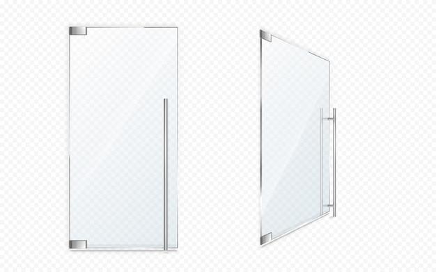 Szklane drzwi z metalowymi uchwytami. zamknij i otwórz wejście do biura, fasada butiku, sklep lub wejście do sklepu izolowane. nowoczesny element wystroju wnętrz, realistyczne wejście wektor 3d